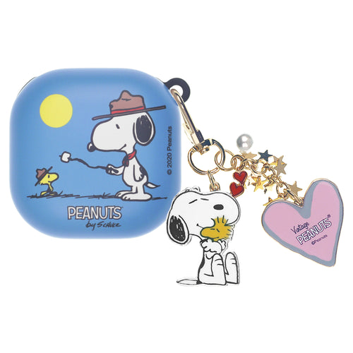 Peanuts Galaxy Buds Live Case (2020) Snoopy Key Ring Keychain Key Holder Hard PC Shell Cover - Camp Snoopy Marshmallow