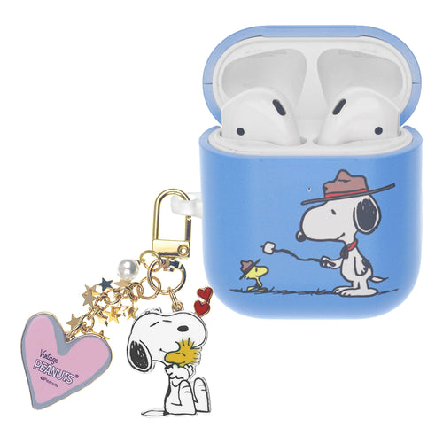 Peanuts AirPods Case Snoopy Key Ring Keychain Key Holder Hard PC Shell Strap Hole Cover - Camp Snoopy Marshmallow