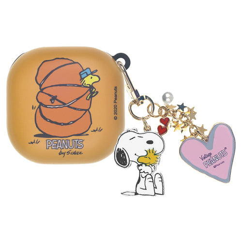 Peanuts Galaxy Buds Live Case (2020) Snoopy Key Ring Keychain Key Holder Hard PC Shell Cover - Camp Woodstock Bag