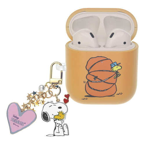 Peanuts AirPods Case Snoopy Key Ring Keychain Key Holder Hard PC Shell Strap Hole Cover - Camp Woodstock Bag