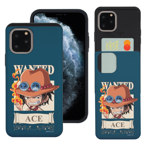 iPhone 11 Pro Case (5.8inch) ONE PIECE Slim Slider Card Slot Dual Layer Holder Bumper Cover - Mini Ace