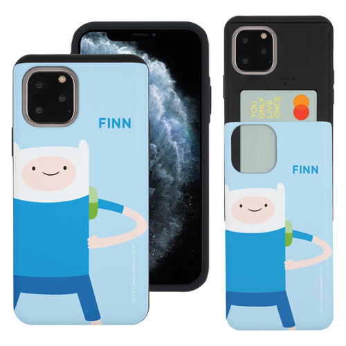iPhone 11 Pro Max Case (6.5inch) Adventure Time Slim Slider Card Slot Dual Layer Holder Bumper Cover - Cuty Finn
