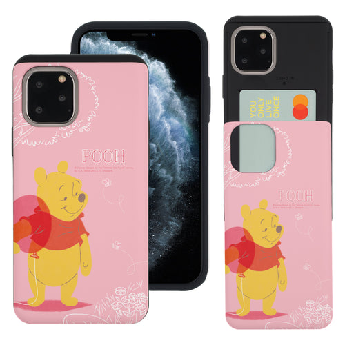 iPhone 11 Pro Max Case (6.5inch) Disney Pooh Slim Slider Card Slot Dual Layer Holder Bumper Cover - Balloon Pooh Ground