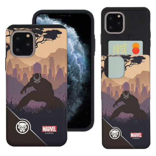 iPhone 11 Case (6.1inch) Marvel Avengers Slim Slider Card Slot Dual Layer Holder Bumper Cover - Shadow Black Panther