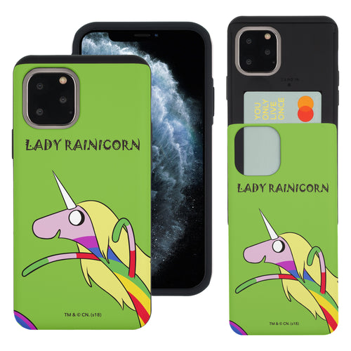 iPhone 11 Pro Max Case (6.5inch) Adventure Time Slim Slider Card Slot Dual Layer Holder Bumper Cover - Lovely Lady Rainicorn
