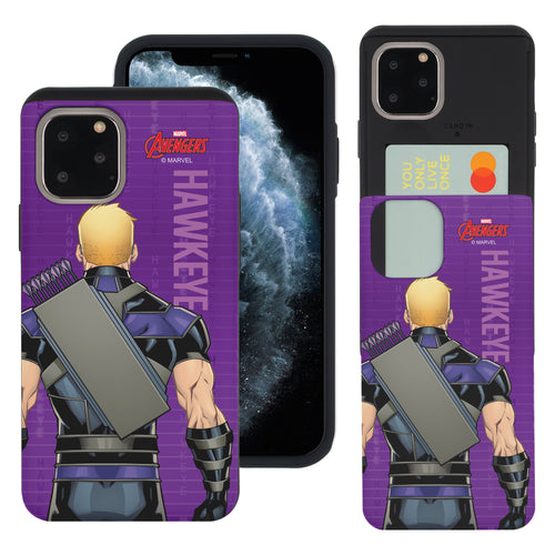 iPhone 11 Case (6.1inch) Marvel Avengers Slim Slider Card Slot Dual Layer Holder Bumper Cover - Back Hawkeye