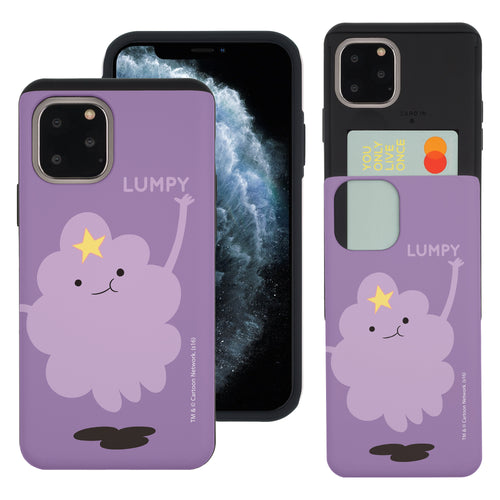 iPhone 11 Pro Max Case (6.5inch) Adventure Time Slim Slider Card Slot Dual Layer Holder Bumper Cover - Cuty Lumpy