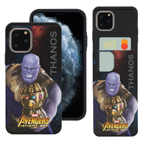 iPhone 11 Case (6.1inch) Marvel Avengers Slim Slider Card Slot Dual Layer Holder Bumper Cover - Infinity War Thanos
