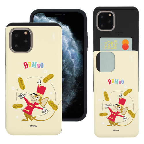 iPhone 11 Pro Max Case (6.5inch) Disney Dumbo Slim Slider Card Slot Dual Layer Holder Bumper Cover - Dumbo Timothy