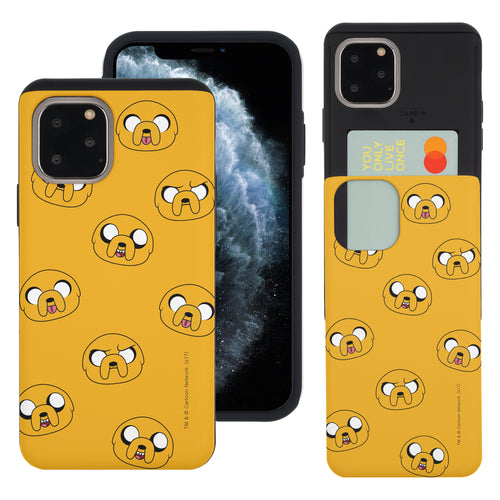 iPhone 11 Pro Max Case (6.5inch) Adventure Time Slim Slider Card Slot Dual Layer Holder Bumper Cover - Pattern Jake