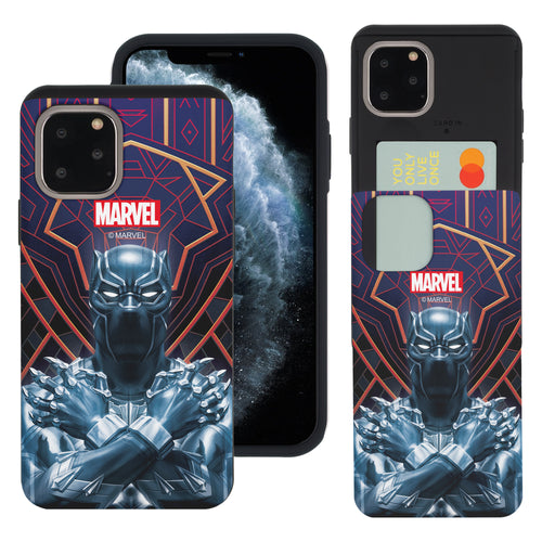 iPhone 11 Case (6.1inch) Marvel Avengers Slim Slider Card Slot Dual Layer Holder Bumper Cover - Black Panther Face Lines