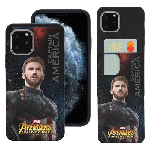 iPhone 11 Case (6.1inch) Marvel Avengers Slim Slider Card Slot Dual Layer Holder Bumper Cover - Infinity War Captain America