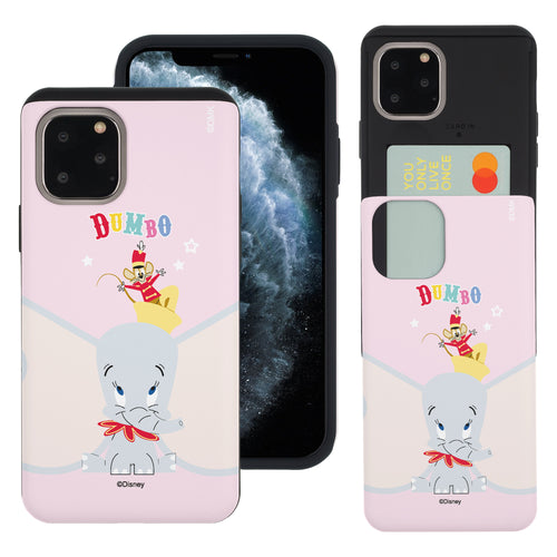 iPhone 11 Pro Max Case (6.5inch) Disney Dumbo Slim Slider Card Slot Dual Layer Holder Bumper Cover - Dumbo Overhead