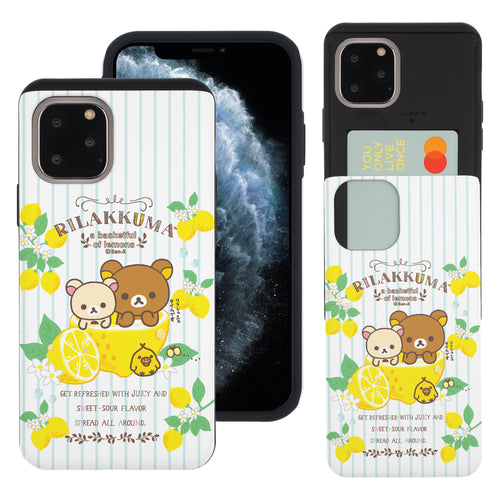 iPhone 11 Pro Max Case (6.5inch) Rilakkuma Slim Slider Card Slot Dual Layer Holder Bumper Cover - Rilakkuma Lemon