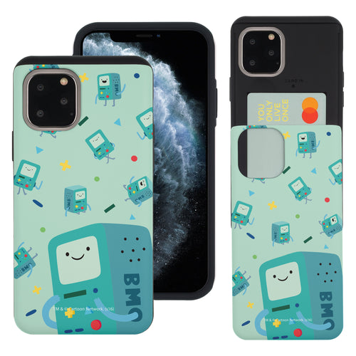 iPhone 11 Pro Max Case (6.5inch) Adventure Time Slim Slider Card Slot Dual Layer Holder Bumper Cover - Cuty Pattern BMO