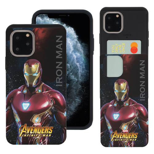 iPhone 11 Case (6.1inch) Marvel Avengers Slim Slider Card Slot Dual Layer Holder Bumper Cover - Infinity War Iron Man
