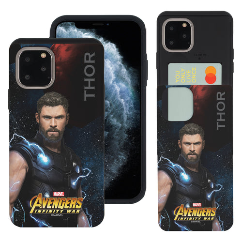 iPhone 11 Case (6.1inch) Marvel Avengers Slim Slider Card Slot Dual Layer Holder Bumper Cover - Infinity War Thor