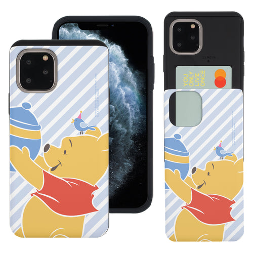 iPhone 11 Pro Max Case (6.5inch) Disney Pooh Slim Slider Card Slot Dual Layer Holder Bumper Cover - Stripe Pooh Bird