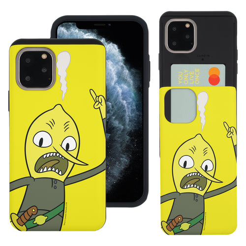 iPhone 11 Pro Max Case (6.5inch) Adventure Time Slim Slider Card Slot Dual Layer Holder Bumper Cover - Vivid Lemongrab