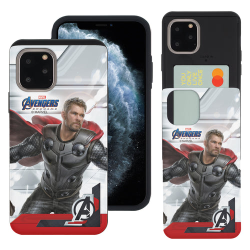 iPhone 11 Case (6.1inch) Marvel Avengers Slim Slider Card Slot Dual Layer Holder Bumper Cover - End Game Thor
