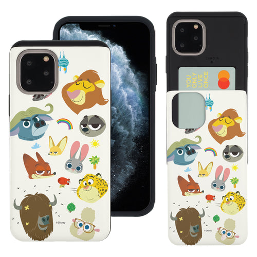 iPhone 11 Pro Max Case (6.5inch) Disney Zootopia Dual Layer Card Slide Slot Wallet Bumper Cover - Zootopia Small