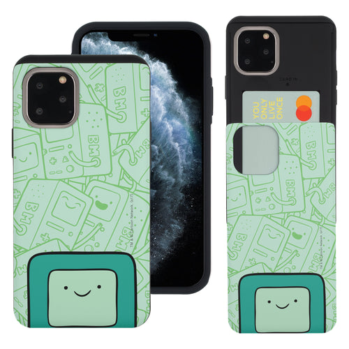 iPhone 11 Pro Max Case (6.5inch) Adventure Time Slim Slider Card Slot Dual Layer Holder Bumper Cover - Pattern BMO Big