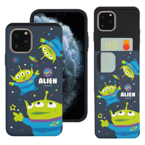 iPhone 11 Pro Max Case (6.5inch) Toy Story Slim Slider Card Slot Dual Layer Holder Bumper Cover - Pattern Alien Space