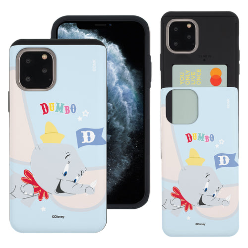 iPhone 11 Pro Max Case (6.5inch) Disney Dumbo Slim Slider Card Slot Dual Layer Holder Bumper Cover - Dumbo Fly