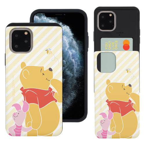 iPhone 11 Pro Max Case (6.5inch) Disney Pooh Slim Slider Card Slot Dual Layer Holder Bumper Cover - Stripe Pooh Bee