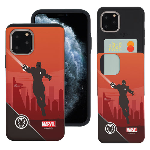 iPhone 11 Case (6.1inch) Marvel Avengers Slim Slider Card Slot Dual Layer Holder Bumper Cover - Shadow Iron Man
