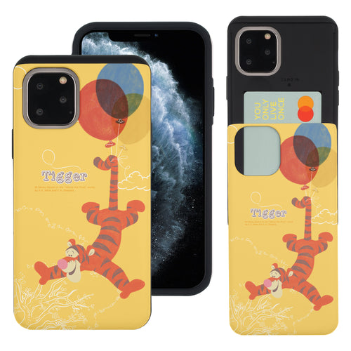 iPhone 11 Pro Max Case (6.5inch) Disney Pooh Slim Slider Card Slot Dual Layer Holder Bumper Cover - Balloon Tigger