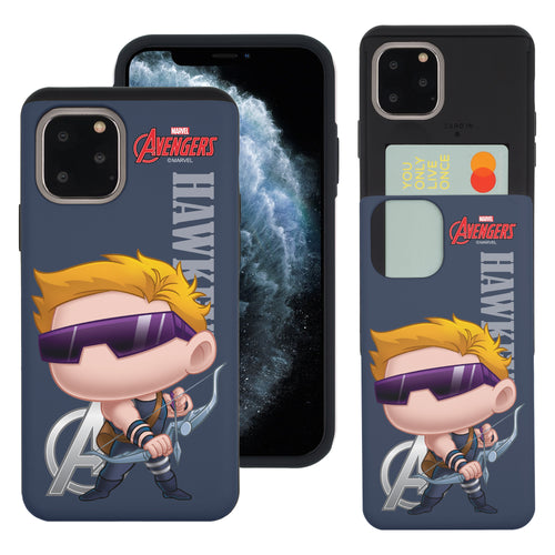 iPhone 11 Case (6.1inch) Marvel Avengers Slim Slider Card Slot Dual Layer Holder Bumper Cover - Mini Hawkeye