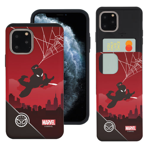 iPhone 11 Case (6.1inch) Marvel Avengers Slim Slider Card Slot Dual Layer Holder Bumper Cover - Shadow Spider Man