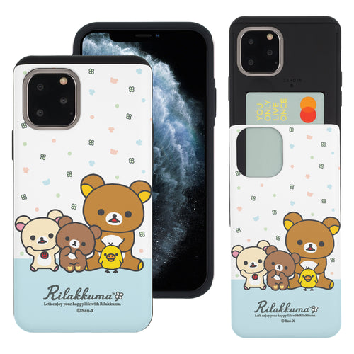 iPhone 11 Pro Max Case (6.5inch) Rilakkuma Slim Slider Card Slot Dual Layer Holder Bumper Cover - Rilakkuma Friends