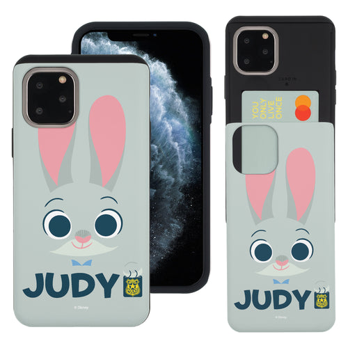 iPhone 11 Pro Max Case (6.5inch) Disney Zootopia Dual Layer Card Slide Slot Wallet Bumper Cover - Face Judy