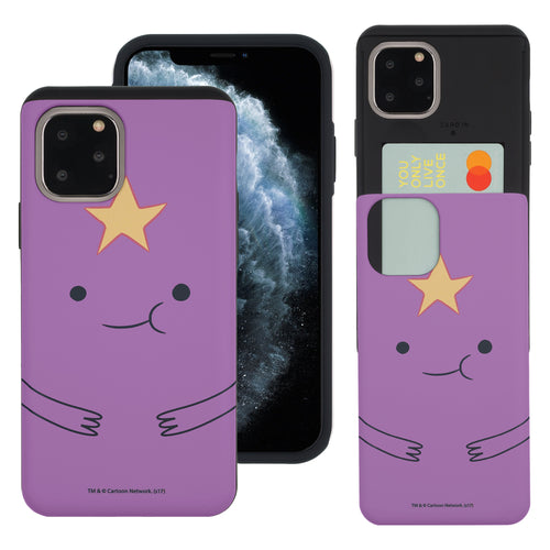 iPhone 11 Pro Max Case (6.5inch) Adventure Time Slim Slider Card Slot Dual Layer Holder Bumper Cover - Lumpy