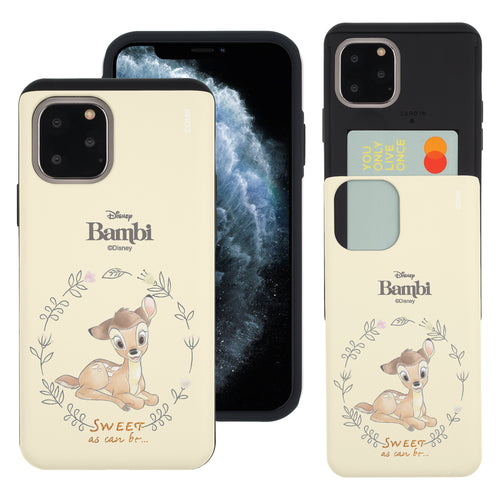 iPhone 11 Pro Max Case (6.5inch) Disney Bambi Slim Slider Card Slot Dual Layer Holder Bumper Cover - Full Bambi