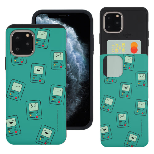 iPhone 11 Pro Max Case (6.5inch) Adventure Time Slim Slider Card Slot Dual Layer Holder Bumper Cover - Pattern BMO