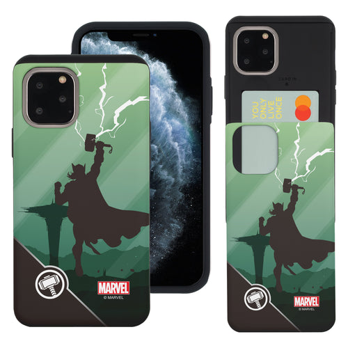 iPhone 11 Case (6.1inch) Marvel Avengers Slim Slider Card Slot Dual Layer Holder Bumper Cover - Shadow Thor