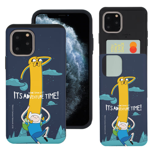 iPhone 11 Pro Max Case (6.5inch) Adventure Time Slim Slider Card Slot Dual Layer Holder Bumper Cover - Cuty Jake Long