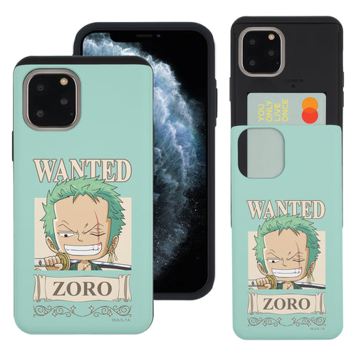 iPhone 11 Pro Case (5.8inch) ONE PIECE Slim Slider Card Slot Dual Layer Holder Bumper Cover - Mini Zoro