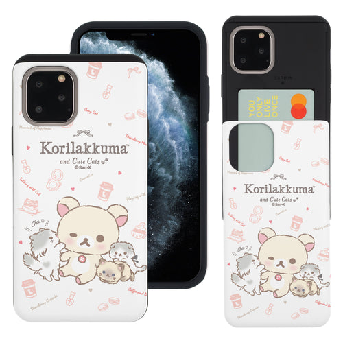 iPhone 11 Pro Max Case (6.5inch) Rilakkuma Slim Slider Card Slot Dual Layer Holder Bumper Cover - Korilakkuma Cat