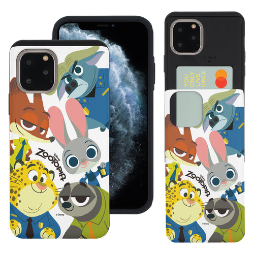 iPhone 11 Pro Max Case (6.5inch) Disney Zootopia Dual Layer Card Slide Slot Wallet Bumper Cover - Zootopia Big
