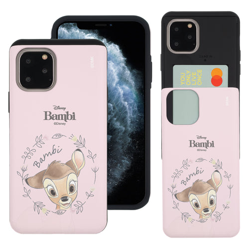 iPhone 11 Pro Max Case (6.5inch) Disney Bambi Slim Slider Card Slot Dual Layer Holder Bumper Cover - Face Bambi