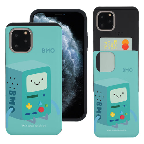 iPhone 11 Pro Max Case (6.5inch) Adventure Time Slim Slider Card Slot Dual Layer Holder Bumper Cover - Cuty BMO
