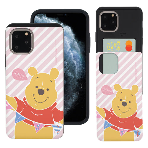 iPhone 11 Pro Max Case (6.5inch) Disney Pooh Slim Slider Card Slot Dual Layer Holder Bumper Cover - Stripe Pooh Happy