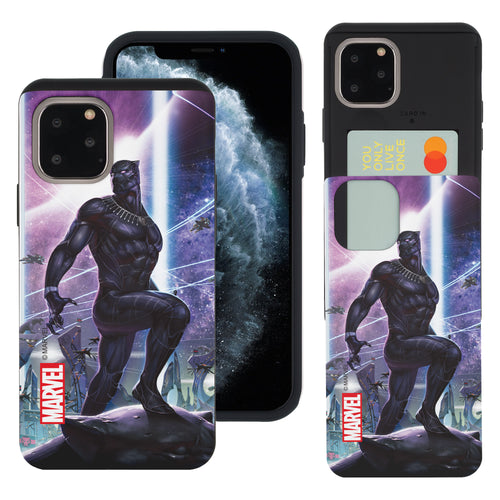 iPhone 11 Case (6.1inch) Marvel Avengers Slim Slider Card Slot Dual Layer Holder Bumper Cover - Black Panther Stand