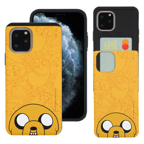 iPhone 11 Pro Max Case (6.5inch) Adventure Time Slim Slider Card Slot Dual Layer Holder Bumper Cover - Pattern Jake Big