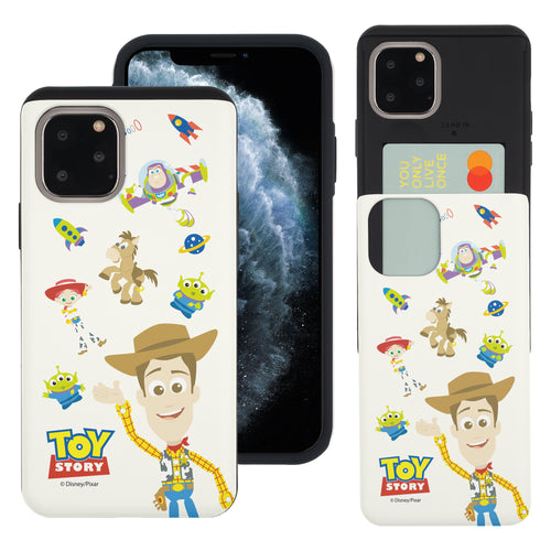 iPhone 11 Pro Max Case (6.5inch) Toy Story Slim Slider Card Slot Dual Layer Holder Bumper Cover - Pattern Woody