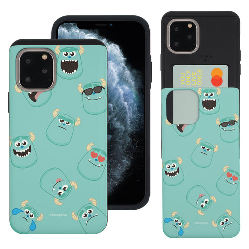 iPhone 11 Case (6.1inch) Monsters University inc Slim Slider Card Slot Dual Layer Holder Bumper Cover - Pattern Sulley